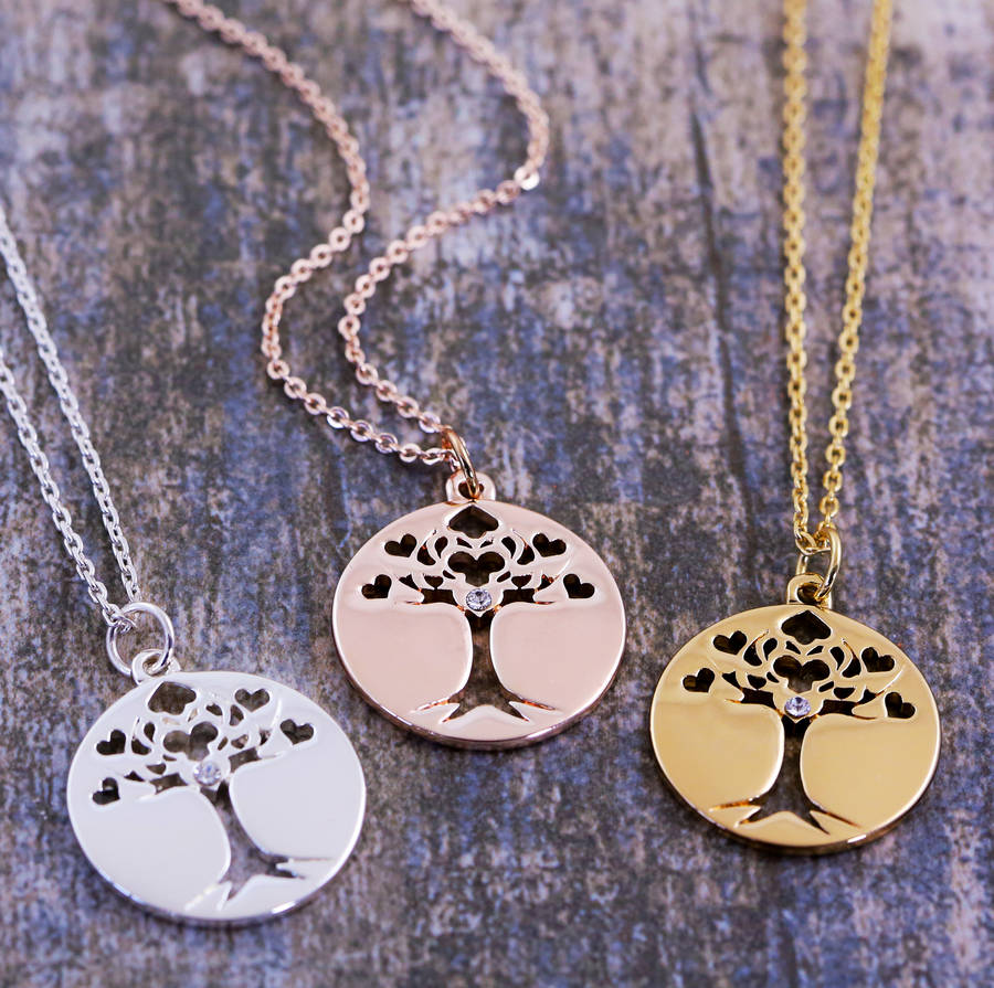 tree gold with life rose s pendant lifes necklace finish silver sterling jewellery