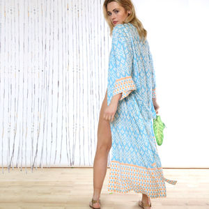 Pacific Islands Sky 100% Bamboo Long Kimono - lingerie & nightwear