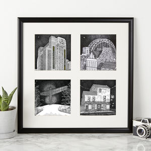 North East Landmarks Print Quartet - architecture & buildings
