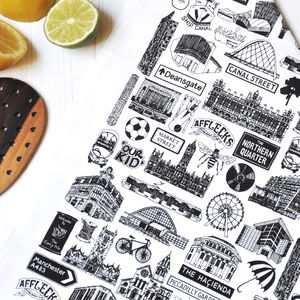 Manchester Illustrated Black And White Tea Towel - tea towels