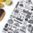 Manchester Black And White Cotton Tea Towel