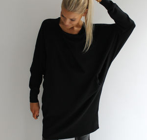Black Crossover Batwing Jumper - jumpers