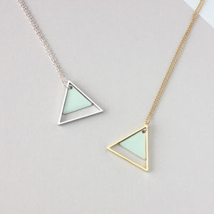 Large Geometric Two Triangle Necklace - minimal jewellery