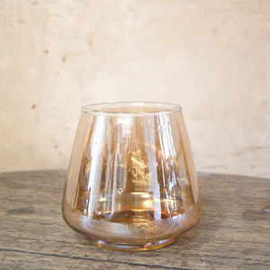 Glass Votive Tea Light Holder In Amber - home accessories