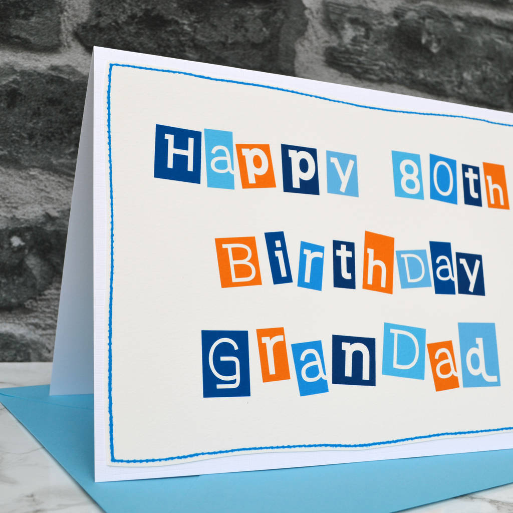 Large A5 Mens 80th Birthday Card For A Special Dad Grandad Grandpa Etc