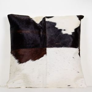 Brown And White Cowhide Cushion