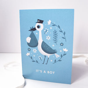 'It's A Boy' Illustrated Stork New Baby Card - shop by category