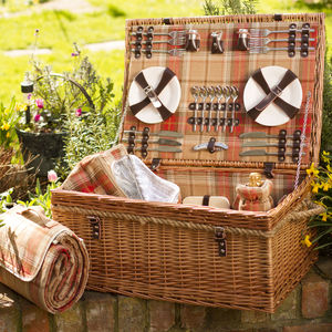 Personalised Amber Tartan Hamper For Six