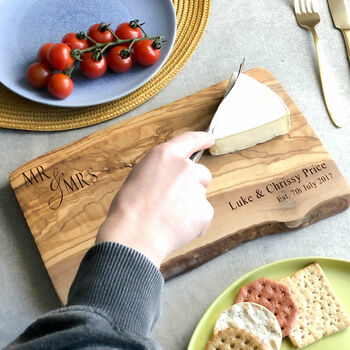 'Mr And Mrs' Live Edge Chopping Board