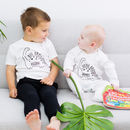 Personalised Big And Little Brother Mono Dinosaur Set