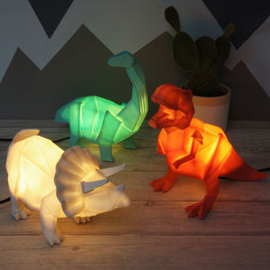 Origami Plug In Dinosaur Night Light - furnishings & fittings