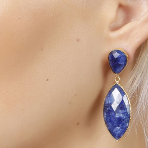 Vermeil Sapphire Corundum Elegant Drop Earrings