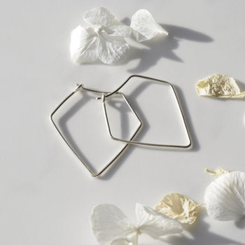 Silver Pentagon Hoop Earrings