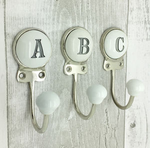 Ceramic Alphabet Or Number Letter Wall Coat Rack Hook - storage & organisers