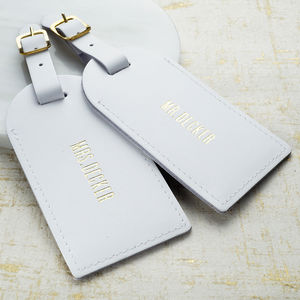 Leather Wedding Luggage Tags