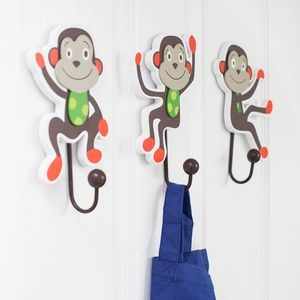 Cheeky Monkey Wooden Wall Hooks