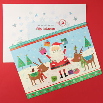 Santa And Reindeer Advent Calendar And Envelope