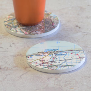 Personalised Location UK Postcode Map Drinks Coaster