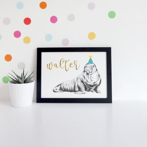 Personalised Illustrated Walrus Print