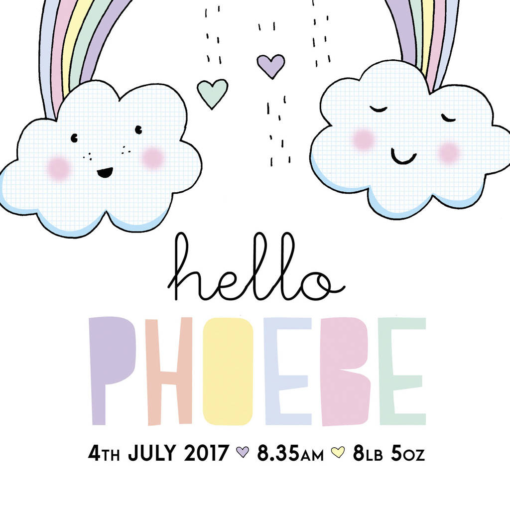 personalised new baby rainbow print by eskimo kiss designs