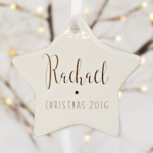 Personalised Christmas Tree Ornament Ceramic Star