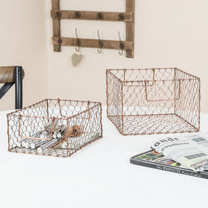 Set Of Two Copper Wire Storage Baskets - baskets