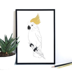 Cockatoo Print With Handpainted Gold Detail - drawings & illustrations