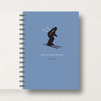 Personalised Skiing Lover's Journal Or Notebook in dark blue