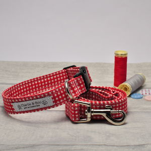 Red Dog Collar And Lead/Leash Set For Girl And Boy Dogs