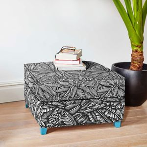 Screen Printed Tropical Leaf Pattern Ottoman - furniture