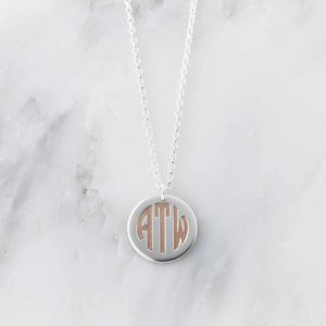 Silver And Rose Gold Deco Monogram Necklace - necklaces & pendants