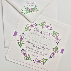 Handmade Lavender Floral Wedding Invitation
