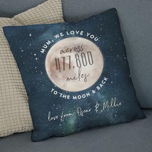 Love You Across The Miles To The Moon And Back Cushion - gifts for him