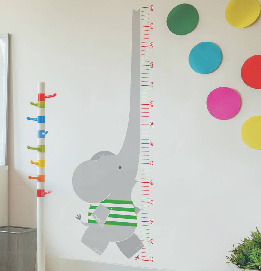Elephant Height Chart Wall Sticker