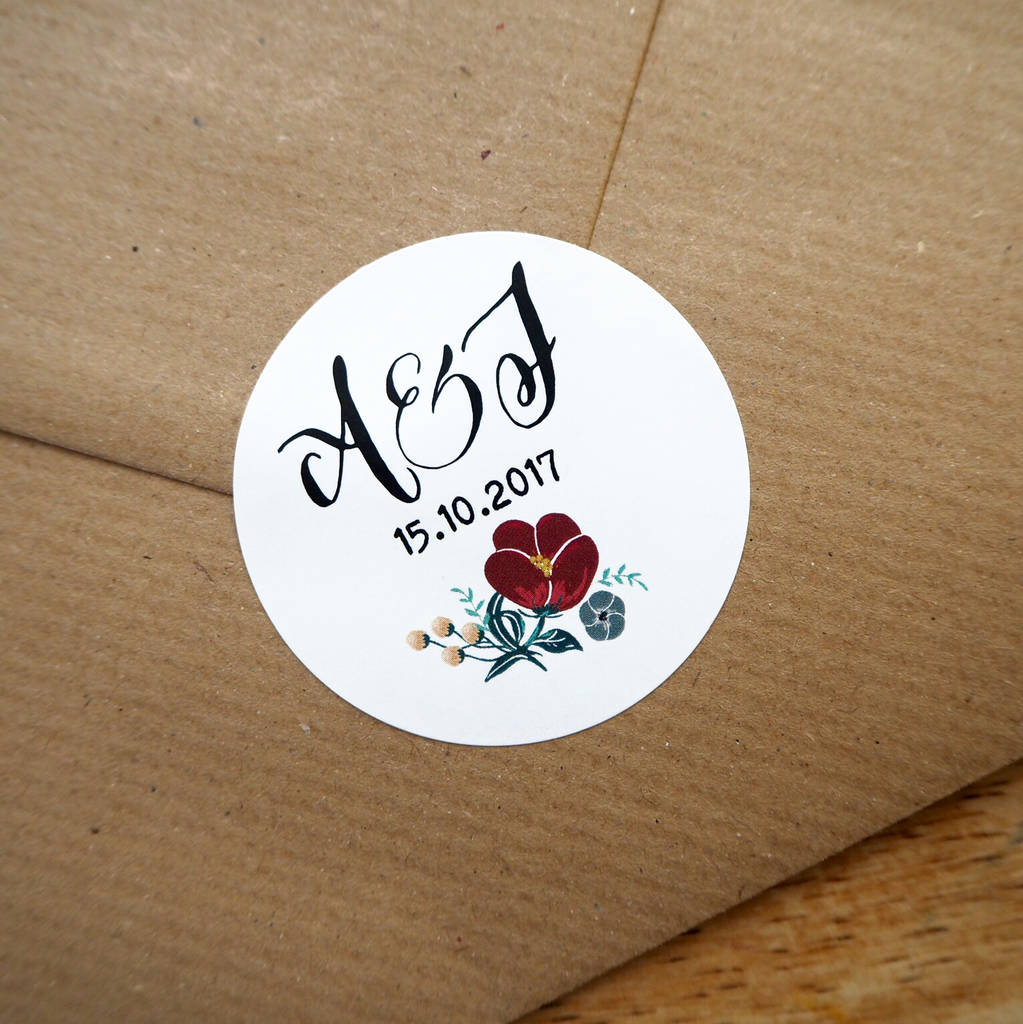 Personalised Envelope Stickers By Tigerlily Wedding