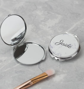 Personalised Marble Compact Mirror - be my bridesmaid?