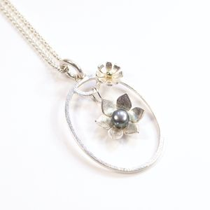 Silver And Pearl Star Flower Frame Large Oval Pendant - necklaces & pendants