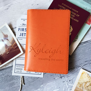 Personalised Passport Cover/Holder With Script Name - gifts for her