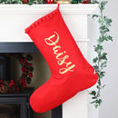 Personalised Christmas Stocking With Name In Gold