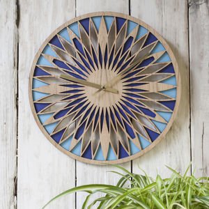 Contemporary Oak Faced Laser Cut Layered Clock - decorative accessories