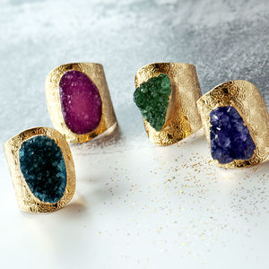 Druzy Agate Statement Gold Ring - rings