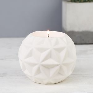 White Geometric Candle Holder