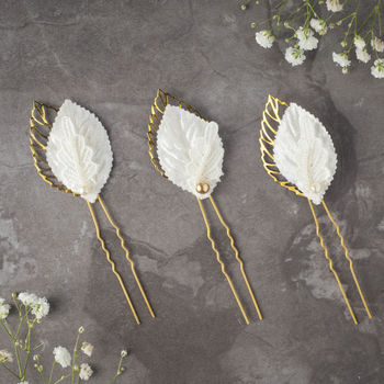 Patti Leaf Hairpins Ivory And Gold