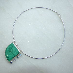 Malachite With Precious Gemstones Silver Pendant - birthstone jewellery gifts