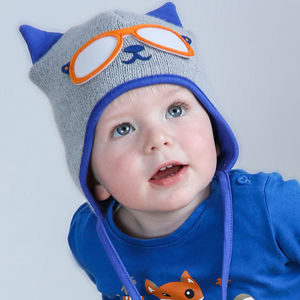 Boy's Knitted Kitty Cat Hat Blue And Grey - babies' hats