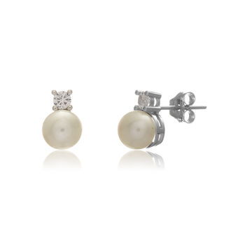 Pearl And Cubic Zirconia Silver Round Drop Earrings