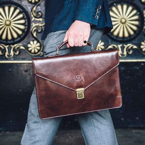 Small Italian Leather Briefcase. 'The Lorenzo'