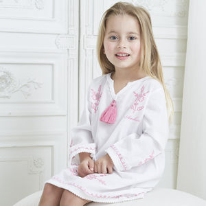 Girl's White Cotton Beach Kaftan