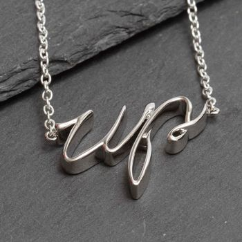 Silver Plated Slogan Up Necklace