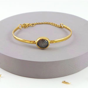 Gold Bangle Set With Labradorite Stone - bracelets & bangles